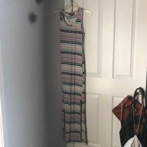 A multi pattern maxi dress